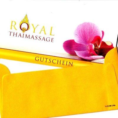 Geschenkgutschein für Paarmassage mit goldgelbem Umschlag