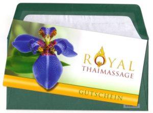 """Thaimassage Dresden Geschenkgutschein Design """"Blaue Lilie"""", grüner Umschlag"""