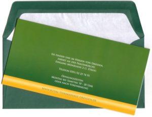 Royal Thai Massage Dresden Geschenkgutschein Design Blaue Lilie, grüner Umschlag, Rückseite